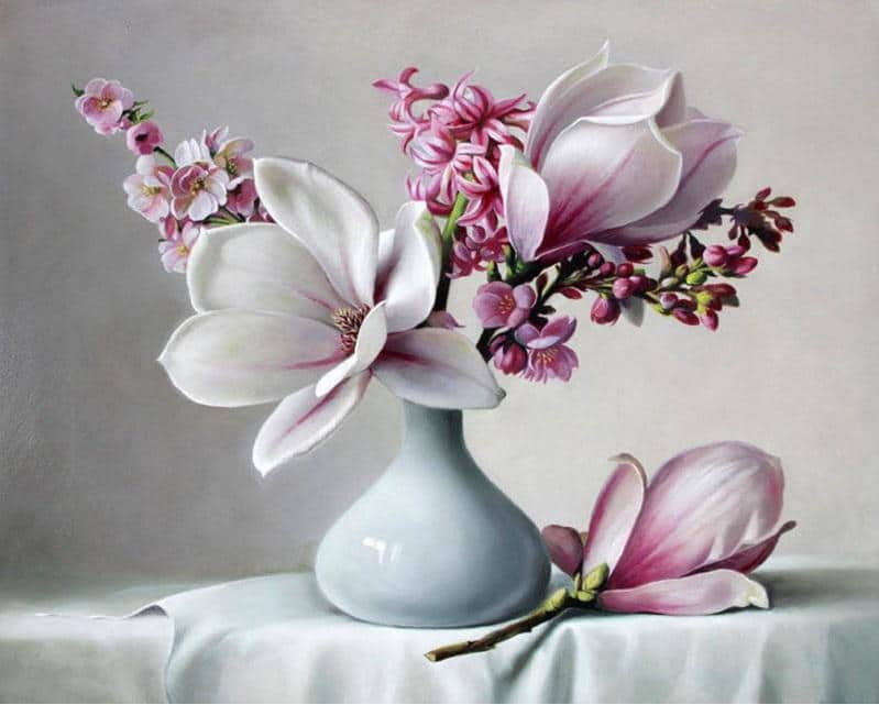 Acrylic Paint Magnolia Flower City - DIY Paint By Numbers - Numeral Paint