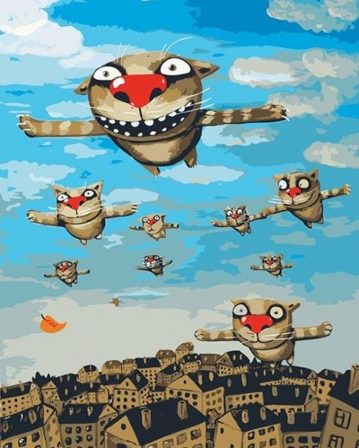 Flying Cat City - DIY Paint By Numbers - Numeral Paint