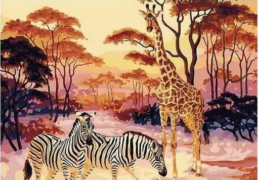 Giraffe Zebra Animals - DIY Paint By Numbers - Numeral Paint