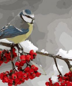 Red Plum Bird paint by numbers