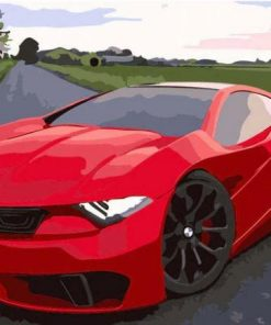 Red Sport Car paint by numbers
