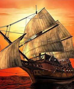 Ship In The Sea at Sunset paint by numbers
