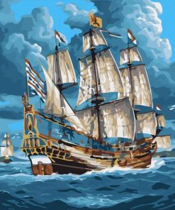 Ship In The Sea paint by numbers
