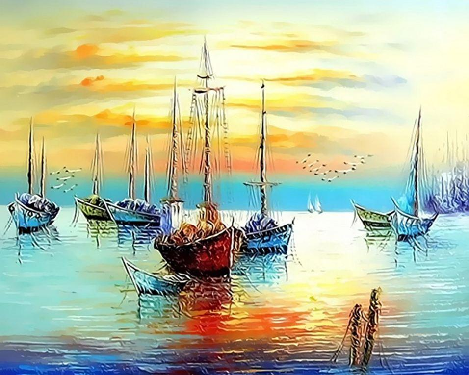 Boat Beach Sea Sand Ship Paint By Numbers Kit DIY Number Canvas Painting Oil