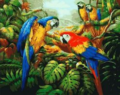 Colorful Parrots - DIY Paint By Numbers - Numeral Paint