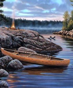 boat in the river paint by numbers