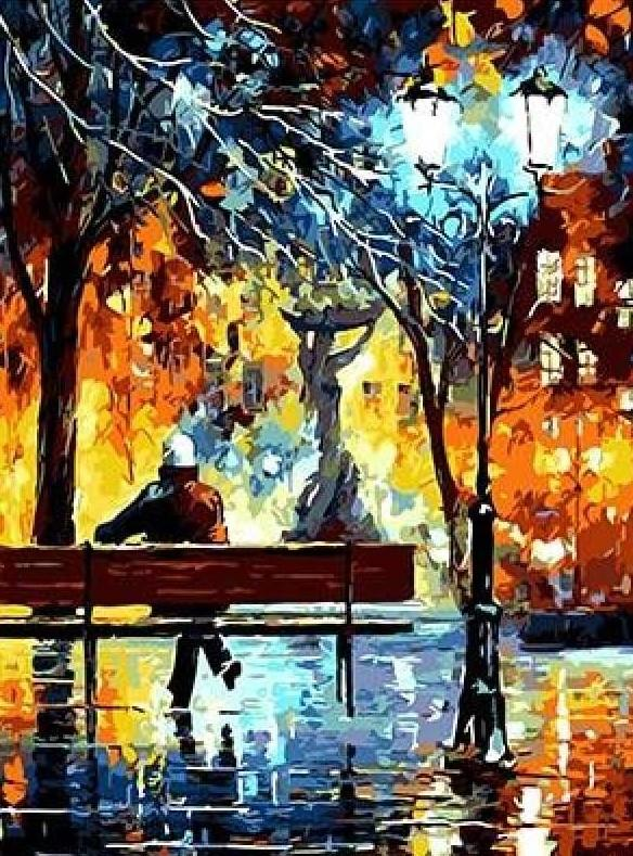 Lonely Men In Park paint by numbers