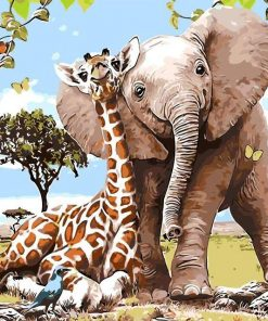 Elephant Giraffe Friendship - DIY Paint By Numbers - Numeral Paint