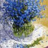 Blue Flowers - DIY Paint By Numbers - Numeral Paint