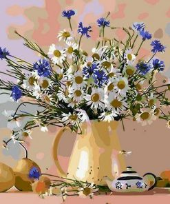 Blue White Flowers - DIY Paint By Numbers - Numeral Paint