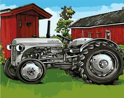 grey tractor paint by numbers
