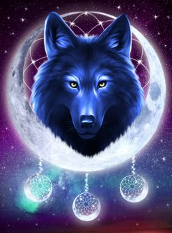 galaxy wolf paint by numbers