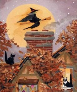 vintage halloween witch paint by numbers