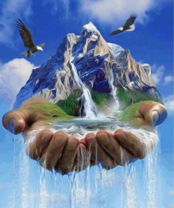 waterfall hand paint by numbers