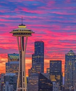 Seattle space needle sunset adult paint by numbers