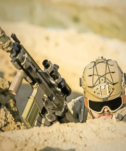 Soldier Holding Assault Rifle
