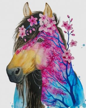 Abstract Floral Horse paint by numbers