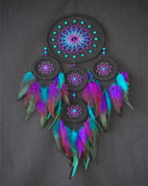 Black And Purple Dream Catcher paint by numbers