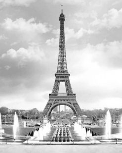 Black And White Eiffel Tower paint by numbers