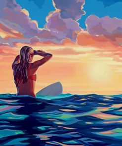 Blondy Surfer Girl paint by numbers Paint by numbers
