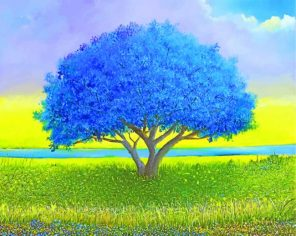 Blue Tree paint by numbers