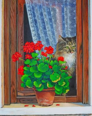 Cat In Window paint by numbers