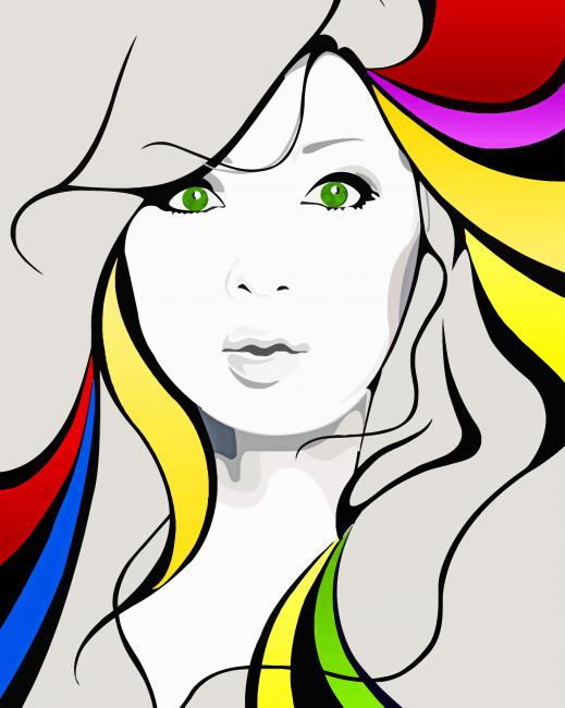 Colored Illustration Art paint by numbers