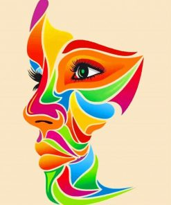 Colorful Face Art paint by numbers