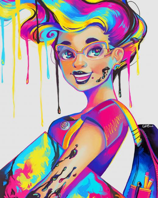 Colorful Splatter Girl paint by number