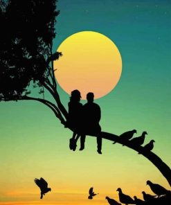 Couple On Tree Silhouette paint by number