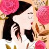 Floral Girl Artwork paint by numbers