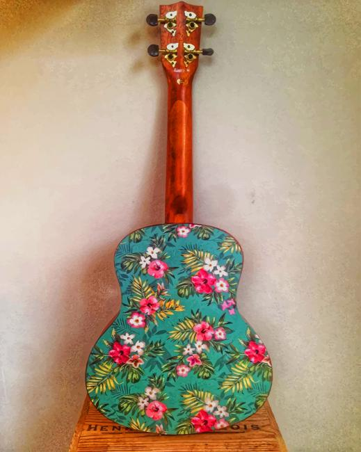 Floral Guitar paint by numbers