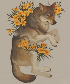 Floral Wolf paint by numbers