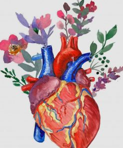 Floral Heart paint by numbers
