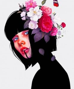 Flowers On Girl Head Art paint by numbers