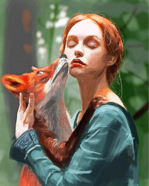 Fox And Ginger Girl paint by numbers