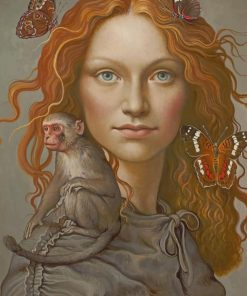 Ginger Girl With Monkey paint by numbers
