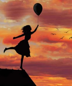 Girl With Balloon Silhouette paint by numbers