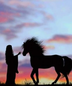 Girl With Horse Silhouette paint by number