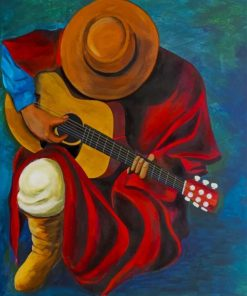 Latino Man Playing Guitar Paint by numbers