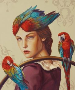 macaw girl art paint by numbers