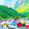 Norway Colored Houses paint by numbers
