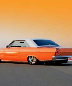 Orange Slammed 66 Ford Galaxie paint by numbers