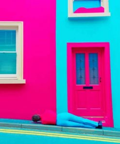 Pink And Blue House paint by numbers