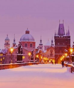 Prague In Snow paint by numbers