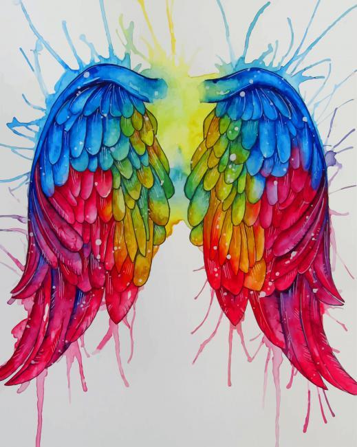 Rainbow Angel Wings paint by numbers