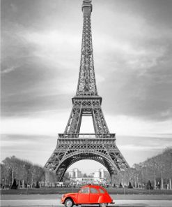 Red Car In Eiffel Tower paint by numbers