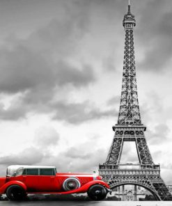 Red Car In Paris paint by numbers