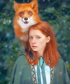 Red Fox And Ginger Girl paint by numbers
