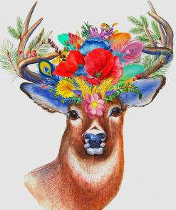 Stag Flowers paint by number